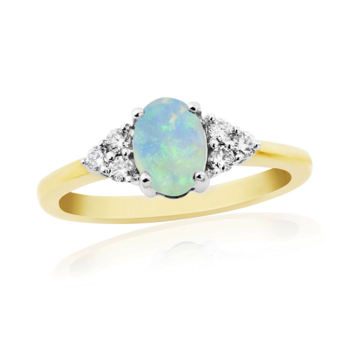Opal And Diamond Cocktail Yellow Gold Ring